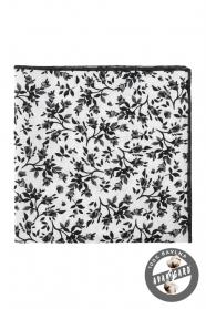 Weißes Einstecktuch mit schwarzem Blumenmuster