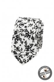 Schmale Krawatte mit Blumenmuster
