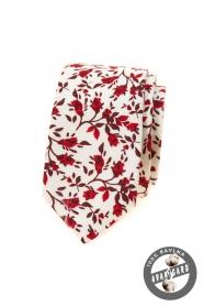 Weiße schmale Krawatte mit roten Blumen