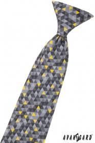 Jungenkrawatte mit grauem Muster 44 cm