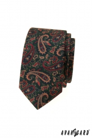 Grüne schmale Krawatte mit buntem Paisley-Muster