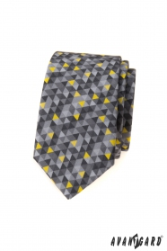 Graue schmale Krawatte mit dreieckigem Muster