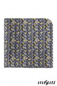 Graues Einstecktuch mit dreieckigem Muster