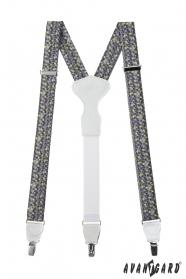 Herren Hosenträger mit dreieckigem Muster, weißes Leder