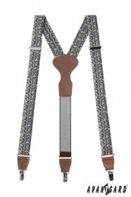 Herren Hosenträger mit dreieckigem Muster, braunes Leder