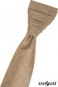Beige französische Krawatte im Set mit Einstecktuch