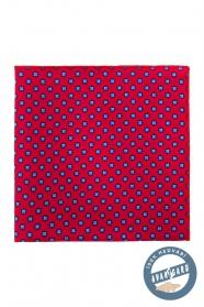 Rotes Seiden-Einstecktuch mit blauem Muster
