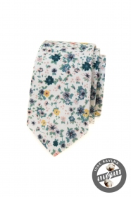 Weiße schmale Krawatte mit bunten Wiesenblumen