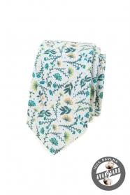 Weiße Krawatte mit bunten Wiesenblumen