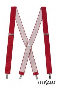 Rote Hosenträger mit Tupfen und Metall Accessoires