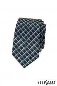 Blaue, schmale Krawatte mit weißen und grünen Streifen
