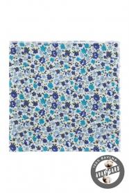 Baumwoll Einstecktuch mit blauen Blumen