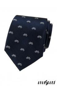 Blaue strukturierte Krawatte, weißes Fahrradmuster