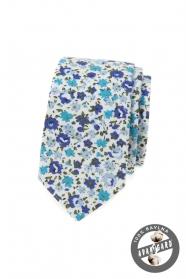 Baumwolle Schmale Krawatte mit blauen Blumen