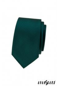 Grüne schmale Krawatte mit feinen Quadraten
