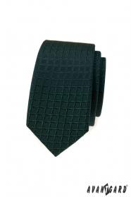 Dunkelgrüne schmale Krawatte mit Gittermuster