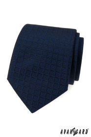Blaue Krawatte mit quadratischer Struktur