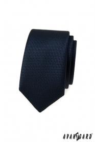 Dunkelblaue schmale Krawatte mit Strickstruktur