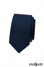 Blaue slim Krawatte mit quadratischer Struktur
