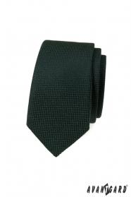 Dunkelgrüne schmale Krawatte mit Strickstruktur