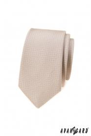 Beige schmale Krawatte mit Punkten