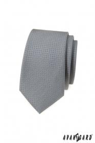Graue schmale Krawatte mit Tupfen