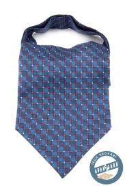 Blauer Seide Ascot mit blau-rotem Muster