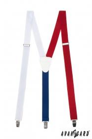 Herren Hosenträger Tricolor weißes Leder