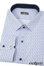 Weißes schmales Hemd mit blauem Muster