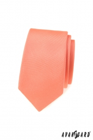 Schmale Krawatte mit matter Lachsfarbe