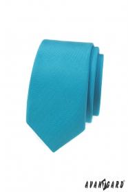 Schmale Krawatte mit türkiser matter Farbe