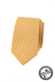 Gelbe schmale Krawatte aus Baumwolle mit Dreiecken