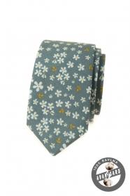 Olivgrüne schmale Krawatte mit Blumenmuster