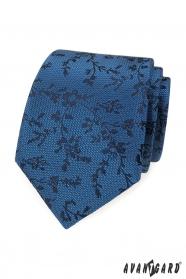 Blaue Krawatte schwarzes Muster