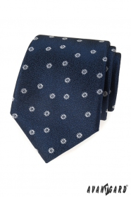 Blaue strukturierte Krawatte mit weißem Muster