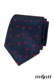 Blaue Herren Krawatte mit rotem Muster