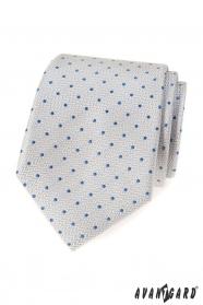 Hellgraue Krawatte mit blauen Tupfen