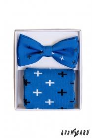 Blaue Socken mit Muster im Set mit Herrenfliege