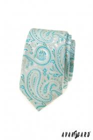 Schmale Krawatte mit mintfarbenem Paisleymuster