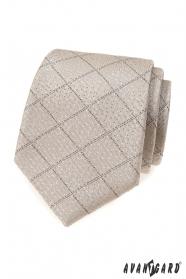 Beige Krawatte mit Gittermuster