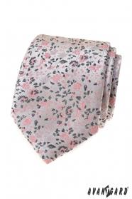 Luxuriöse graue Krawatte mit rosa Muster