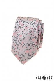 Luxuriöse graue schmale Krawatte mit rosa Muster