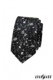 Schwarze schmale Krawatte mit Blumenmuster