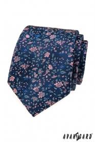 Elegante blaue Krawatte mit Blumenmuster