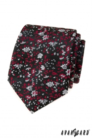 Schwarze Krawatte mit rot-grauem Muster
