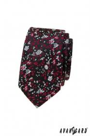 Schwarze schmale Krawatte mit rot-grauem Muster