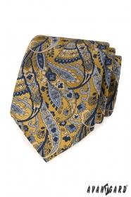Blau-gelbe Krawatte mit Paisleymuster