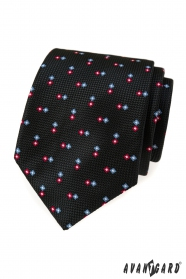 Schwarze strukturierte Krawatte mit Muster