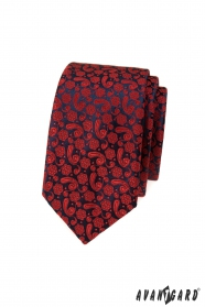 Schmale Krawatte mit rotem Muster
