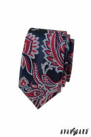 Blaue slim Krawatte mit rotem Paisley-Muster